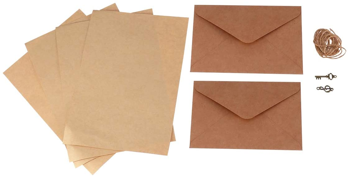STOBOK Vintage Paper Envelope Set Classic Kraft Paper Envelopes and Writing Stationery Jute Line Decorate Pendant for Birthday Invitation