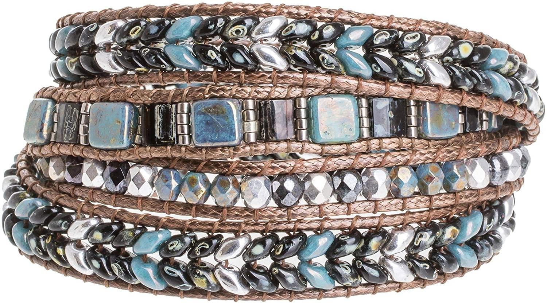 NOVICA Glass Bead Pewter Beaded Bracelet, 28