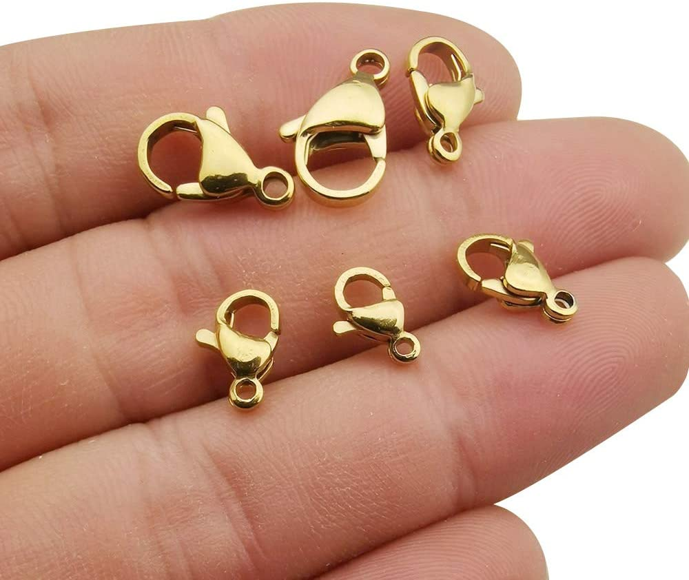 WOCRAFT 30pcs Mixed Gold 304 Stainless Steel Lobster Clasps Claw Clasps for Bracelet Necklace Jewelry Making Findings (M396)