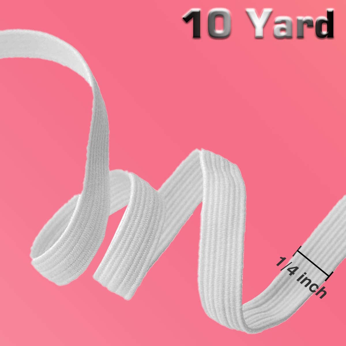 Elastic Cord for Sewing Masks, White 1/4 inch 10 Yard Elastic Rope Mask with Model Sheet Strap Stretchy String Band, Earloop Cord Ear Tie Rope Handmade DIY.