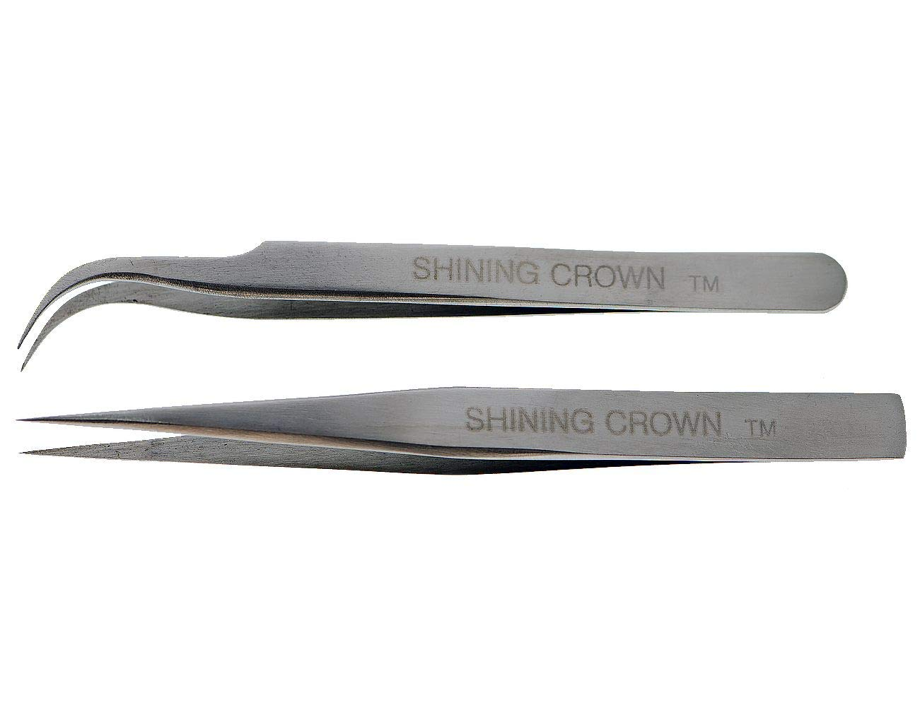 SHINING CROWN Tweezers for Eyelash Extension Straight and Curved 2PCS Set