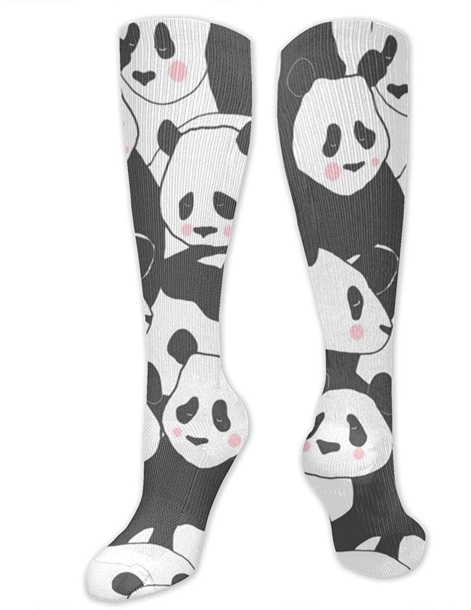 Men Women Knee High Socks Cute Panda Bear Cartoon Boot Tube Hose Long Stockings