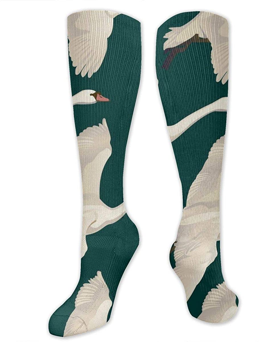 Knee High Socks For Men Women Swans Flying Pattern Running Hose Stockings