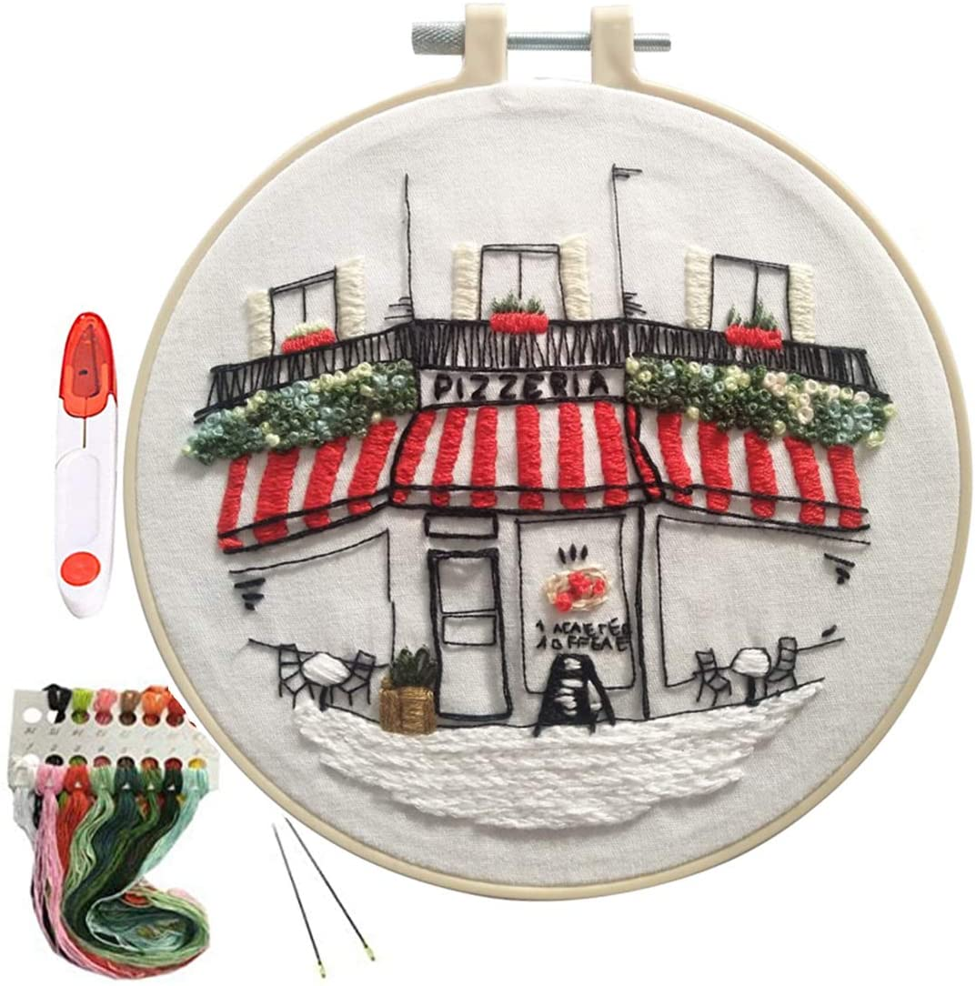HUYADAPI Stamped Embroidery Kit with Cute Pattern,Cross Stitch Set,Handmade Needlepoint Kits Including Embroidery Hoop,Color Threads and Embroidery Scissors for Beginner Starter