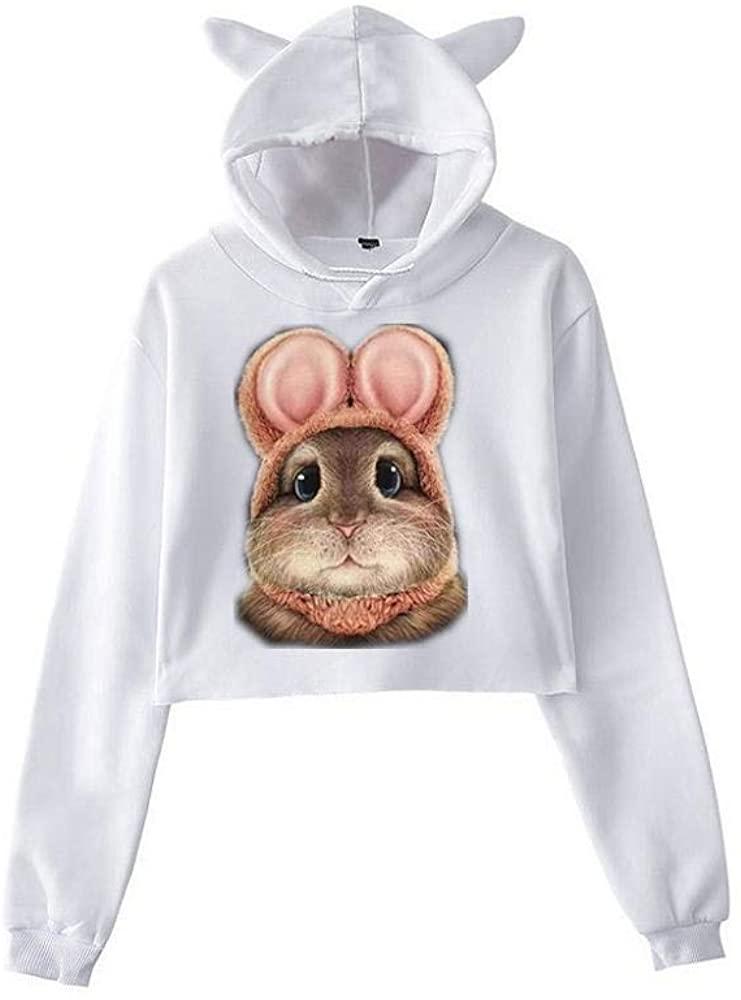 HGWXX7 Women's Casual Cat Print Long Sleeve Sweatshirt Hooded Pullover Tops Blouse Hoodies