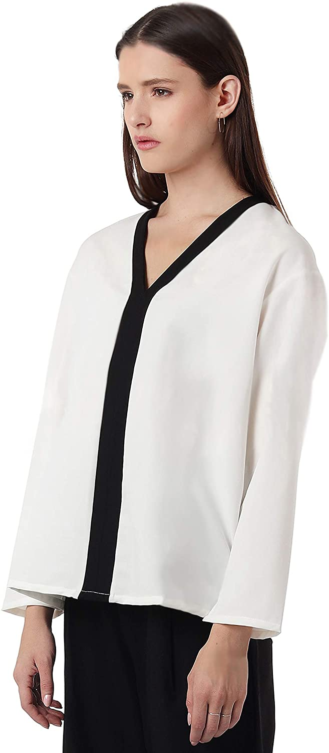 AMIE New York Women's V-Neck Long Sleeve Relaxed Fit Blouse Top
