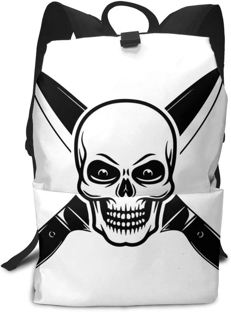 KLQ Skull Cooking Master Travel Backpack Business Daypack Shoulders Bag Computer Rucksack