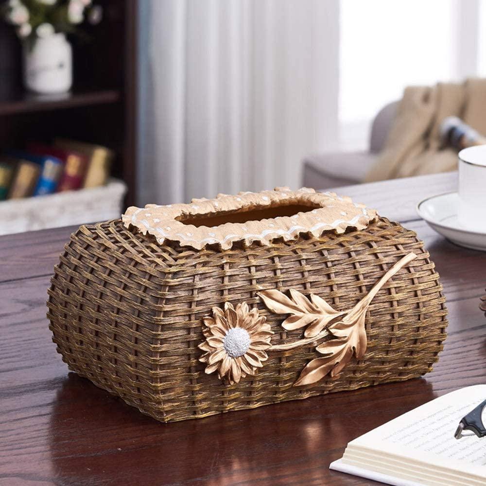 Monkibag Tissue Box Retro Tissue Box European Personality Napkin Box for Night Stands Desks and Tables (Color : Gold, Size : 19x13x10cm)