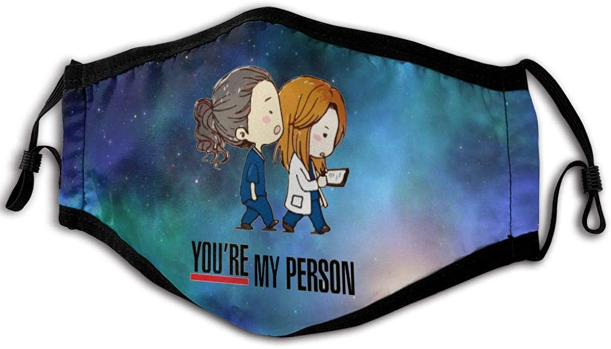 Grey's Anatomy You're My Person Funny Unisex Dust Anti Windproof Mouth Face Washable Scarf