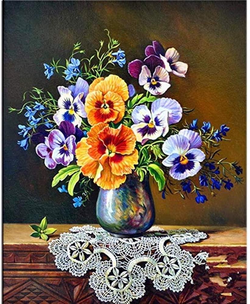 KYRRELY DIY 5D Diamond Painting Kit, Diamond Painting Drill Flower Embroidery Arts Craft Cross Stitch Home Wall Decor 3040cm (Flower, 30x40cm)