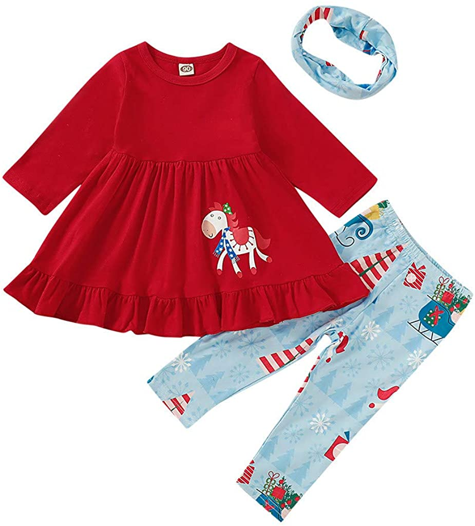 Girl Outfits Sets Toddler Kids Baby Thanksgiving Turkey T-Shirt Floral Pants 2Pcs