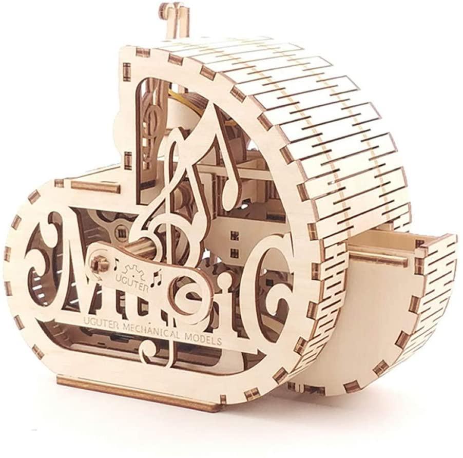 JSY Wooden Mechanical Transmission Model Music Snail Adult Assemble 3D Music Box Gift Musical Boxes