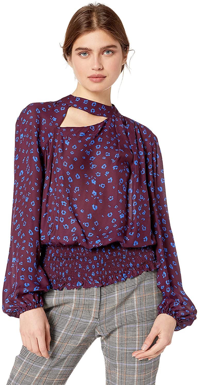Parker Women's Gavin Long Sleeve High Neck Smocked Blouse
