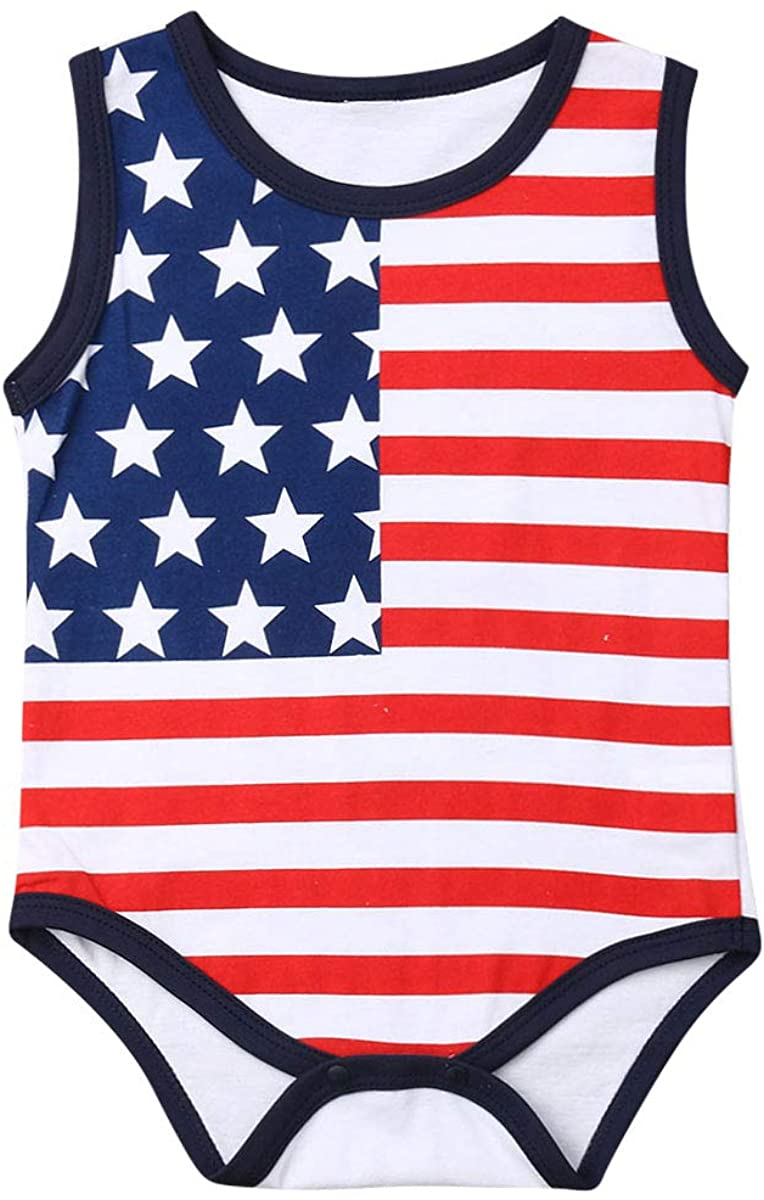Infant Baby Girl Boy Sleeveless American Flag Cotton Bodysuits T Shirts Unisex Clothes Tops