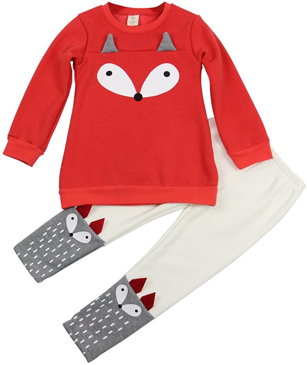 Jastore Baby Girl 2PCS Cartoon Fox Clothing Set Long Sleeve Sweater +Pants