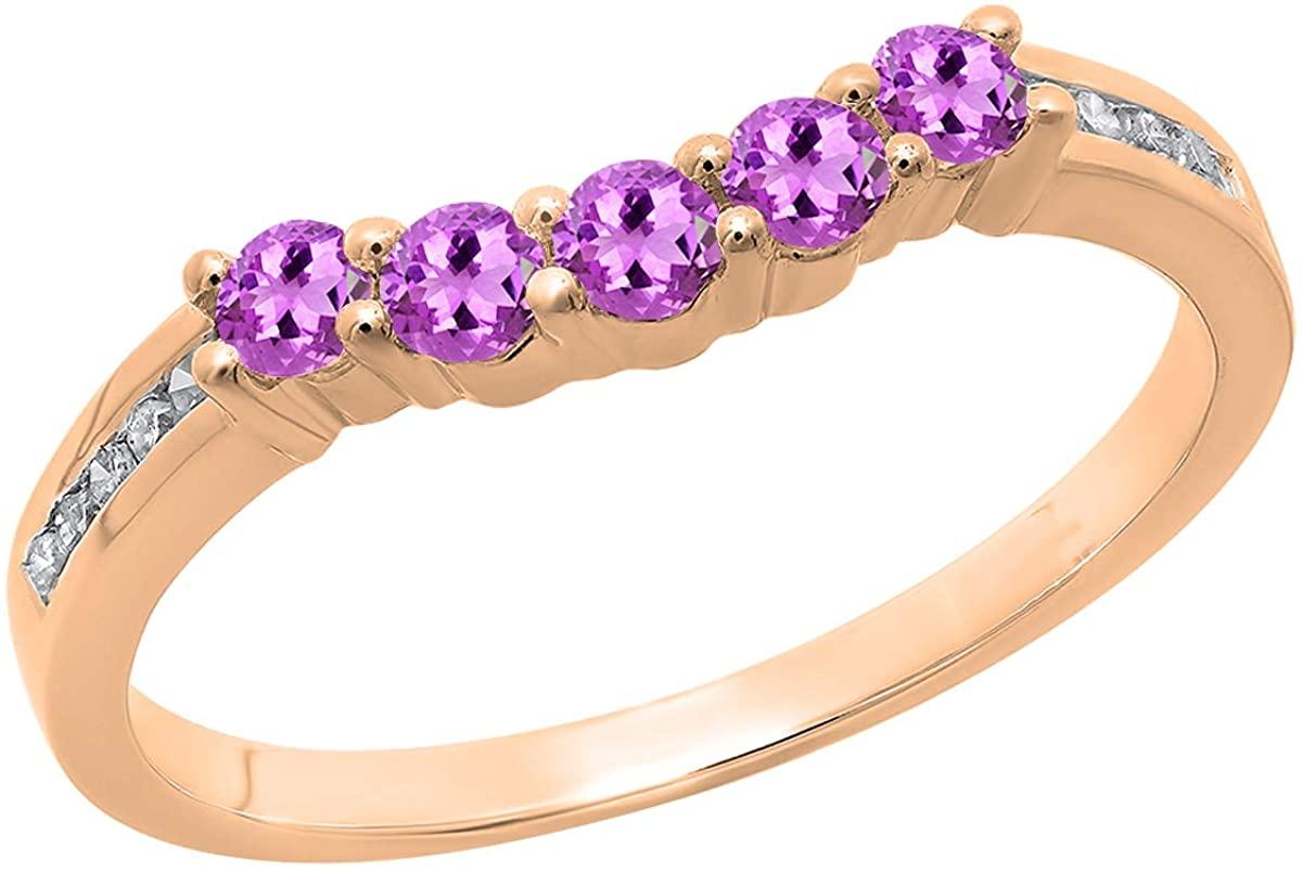 Dazzlingrock Collection Round Gemstone & White Diamond Ladies 5 Stone Guard Wedding Band, 10K Rose Gold