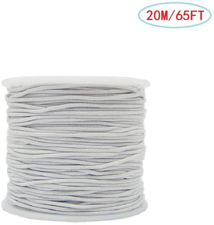 DEDC 22 Yards / 56 Feet Round White Cord, Elastic Cylindrical Braided Elastic Cords for Hat Sewing Accessories, Sewing Crafting and DIY, 1mm