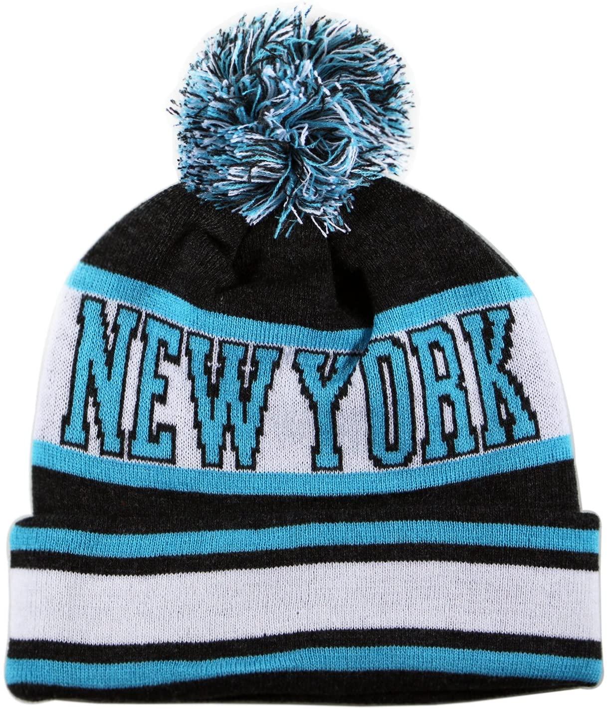 City Hunter Sk1130 New York Stripes Pom Pom Beanie Hats - Dark Grey/teal