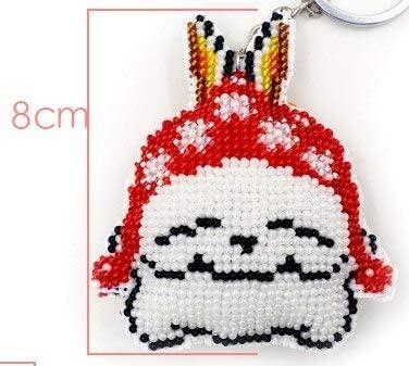 Cartoon lovers bead cross stitch kit pre printed stamped plastic canvas DIY handmade craft needlework Keychain phone plug plus (Rabbit, Key chain)