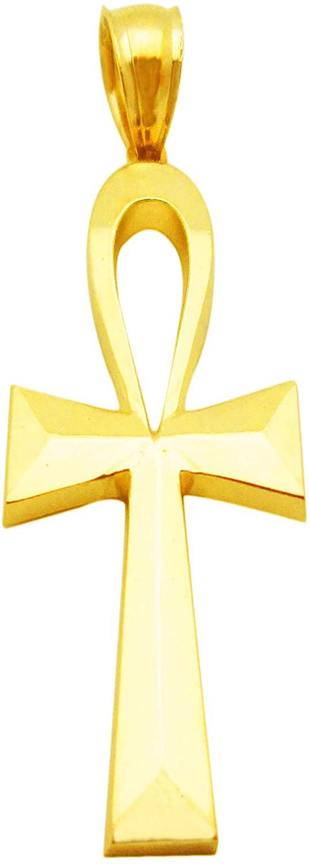 AMZ Jewelry Egyptian Ankh Cross Pendant 10k Yellow Gold Cross Small Charm Pendant 1 inch