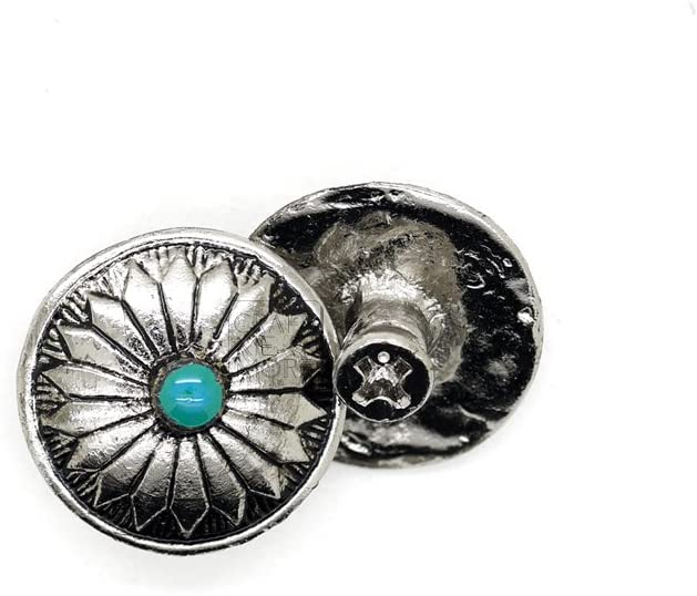 CRAFTMEmore 2PCS 3/4 Inch Flower Conchos Turquoise Dot Round Shape Silver Plated Metal Castings Screw Back Button CHS01 (Silver)