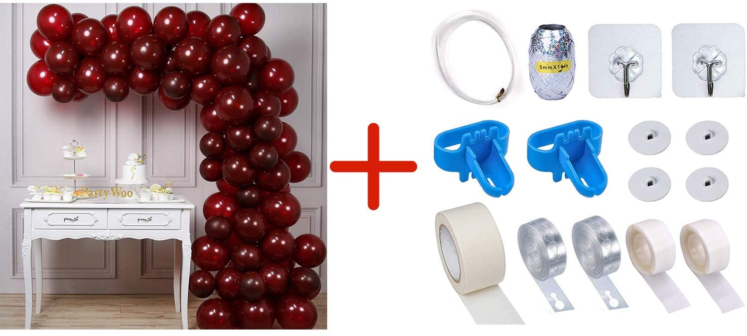 Bundle - Burgundy Balloons 100 pcs and Balloon Garland Kit