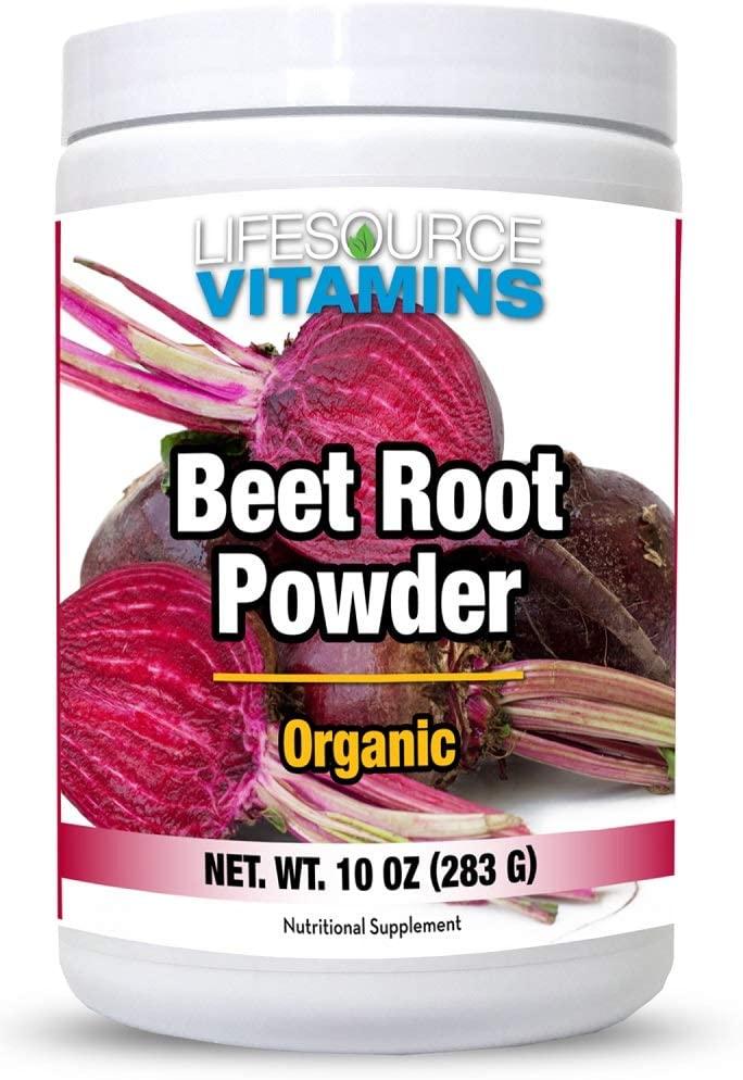 LifeSource Vitamins Beet Root Powder - Organic 10oz - 40 Servings - US California Beets - Non-GMO - Free Priority Shipping