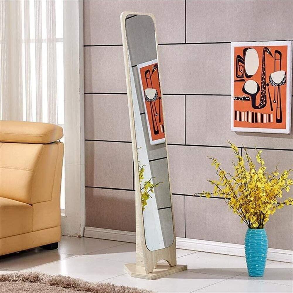 Tian Simple Floor Mirror,Solid Wood Full-Length Bedroom Dressing Mirror Living Room Fitting Mirror (Color : White Wood Grain)