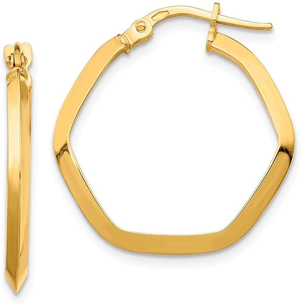 14K Yellow Gold Small 2X2mm Edged Hexagon Hoop Earrings