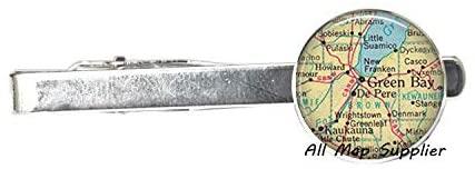 AllMapsupplier Charming Tie Clip Green Bay Wisconsin Tie Clip,Green Bay Tie Clip Tie Pin Green Bay Tie Clip De Pere map Jewelry map Tie Clip,A0093