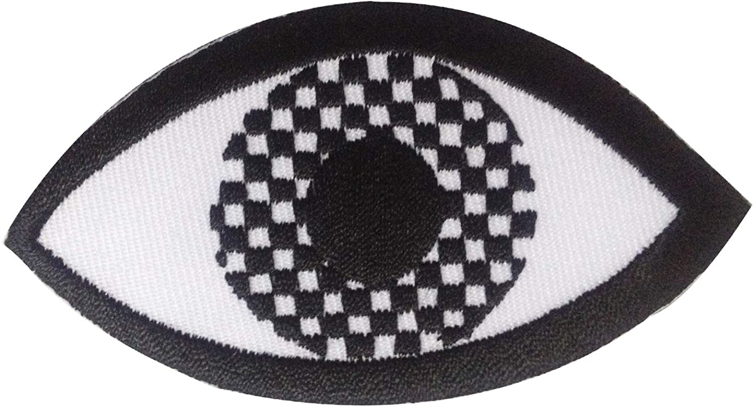 Eye Eyeball Checker Sew on or Iron on Patches Embroidered Applique Craft Accessory for decorate your Clothes Jeans Tshirt Jacket Pant Bag Backpack Hat for Men Women Boys Girls Kids Teen adult