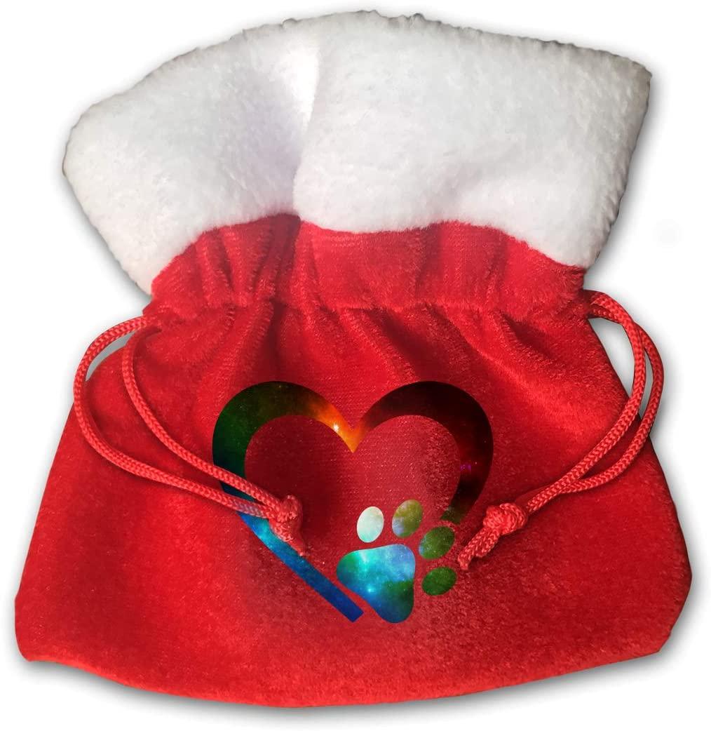 S-charm Small Bags Galaxy Paw Print Heart Pleuche Drawstrings Gift Bags, Pack of 2