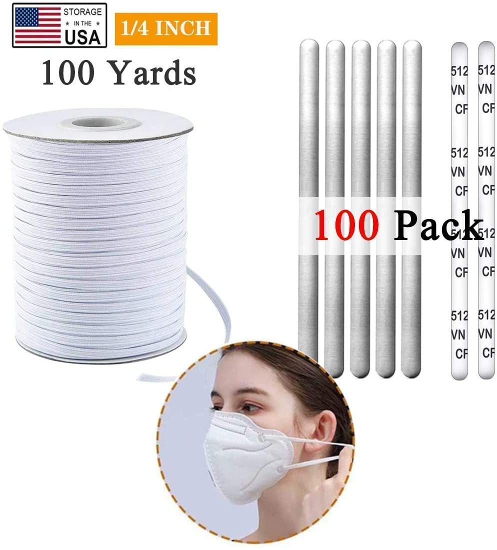 Nose Bridge Strips for Mask (100pcs), 100 Yards 1/4 inch Elastic Bands for Sewing DIY Crafts