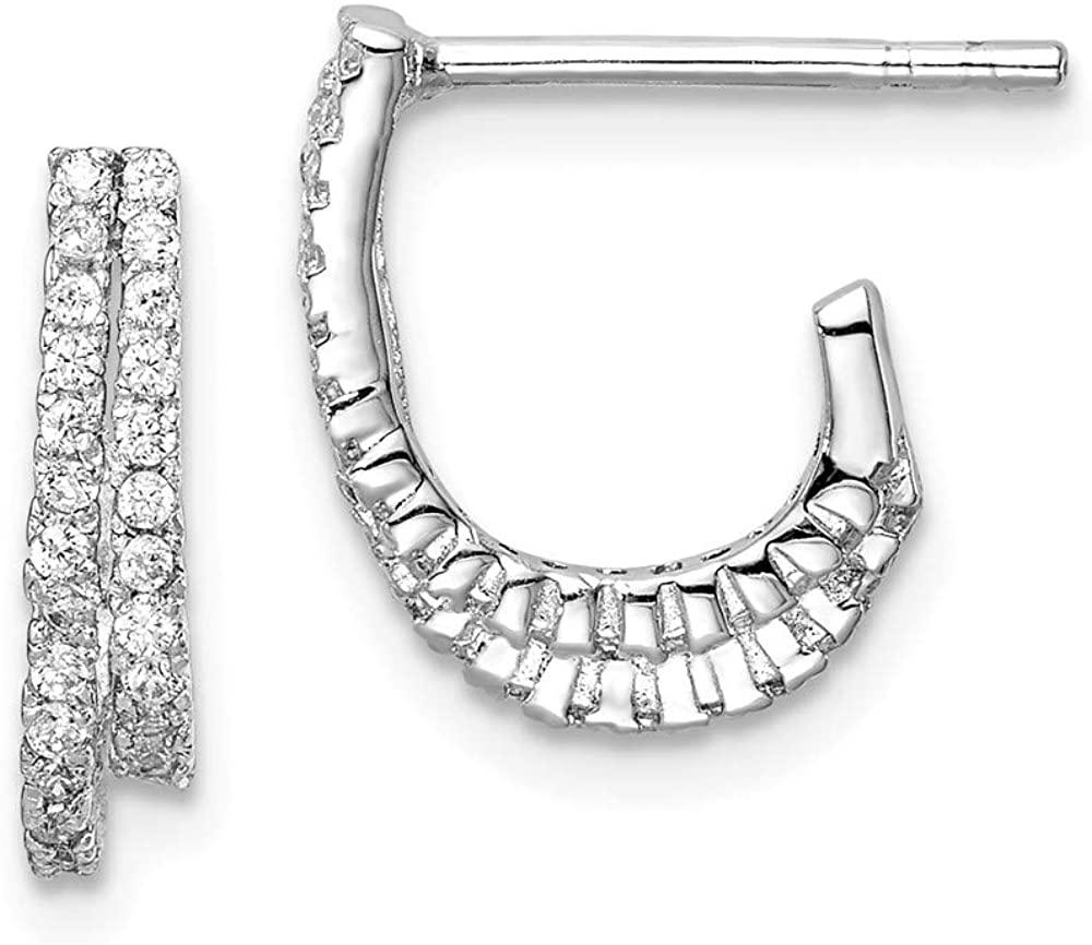 Solid 925 Sterling Silver 2-Row CZ Cubic Zirconia J-Hoop Post Earrings - 13mm x 10mm