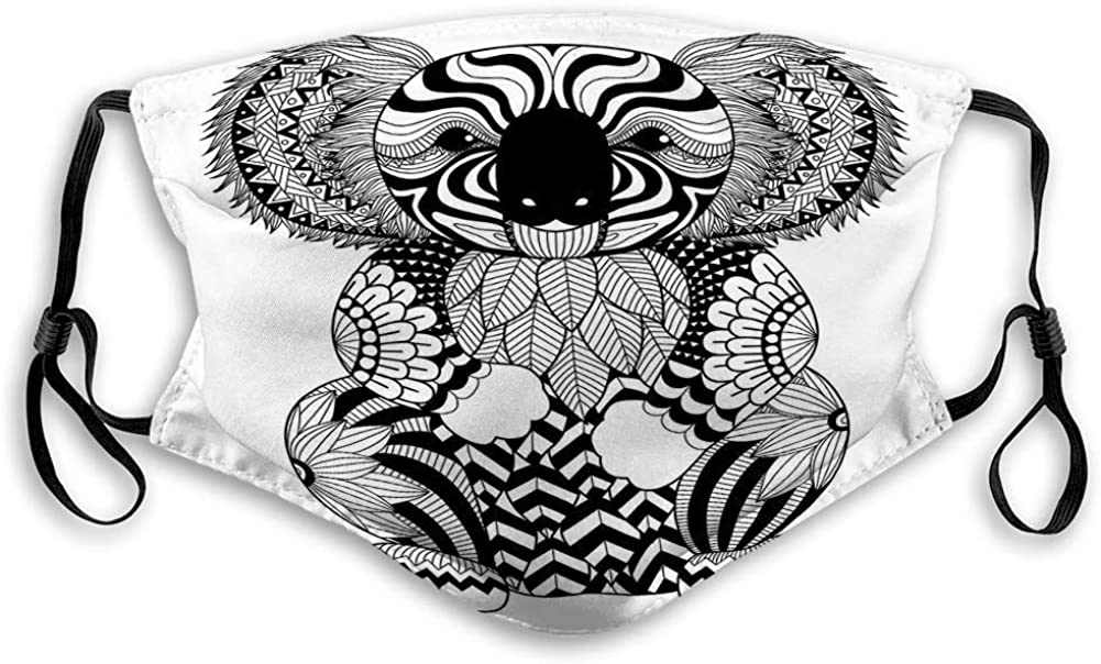 BOKUTT Unisex wind and dust Mouth Face Scarves,Unisex Washable Reusable Drawing Zentangle Koala Coloring Page Effect Logo Decoration