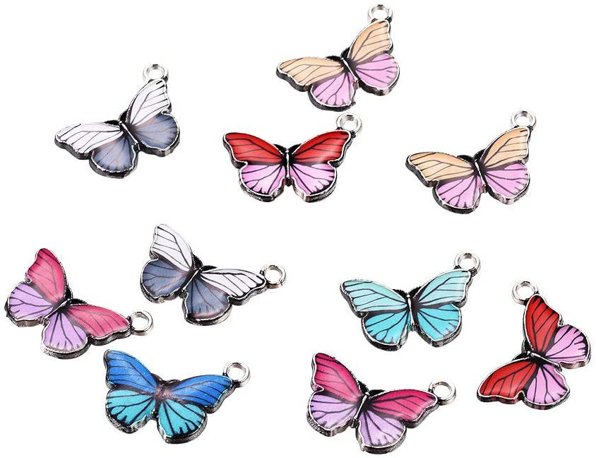 PH PandaHall 10pcs Butterfly Enamel Pendants Mixed Color Animal Dangle Charms Beads for Bracelet Necklace Jewelry Making