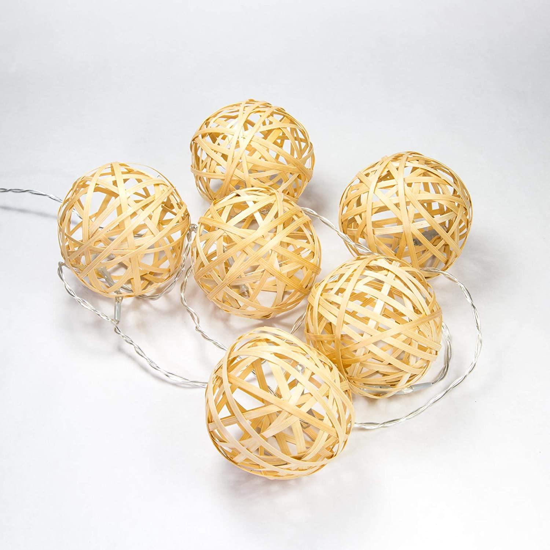 elumining Nomad Indoor LED String Lights, LED Warm White, Bamboo Ball,USB,7ft