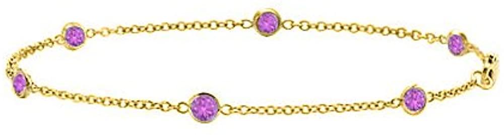 Station Bracelet Amethyst in 14K Yellow Gold 7 Inch Long 0.60 CT TGW