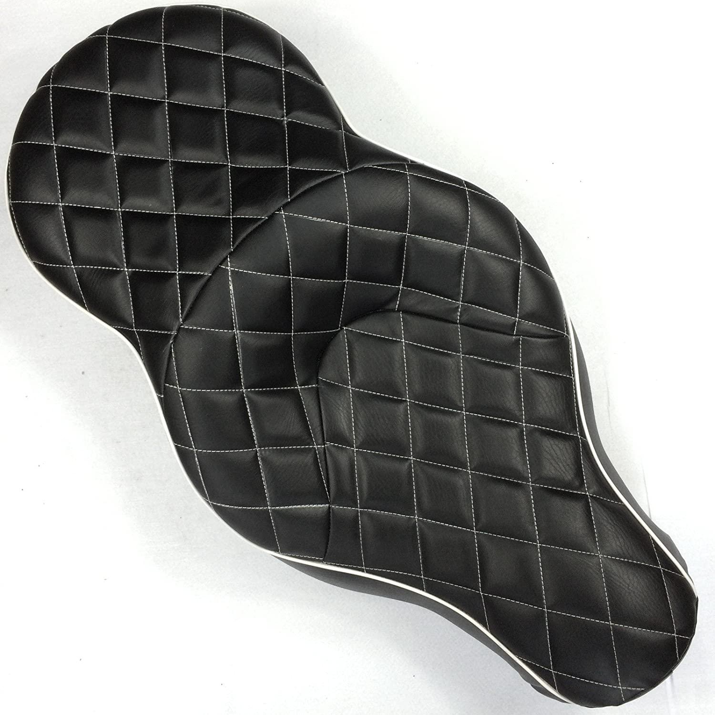 XKMT-Black Custom Thick Driver Passenger 2-up Diamond Stitch Style Leather Seat Compatible With 2005 2006 2007 2008 2009 2010 2011 2012 2013 Harley Davidson XL883N XL883L XL883X [B019DKGR2W]