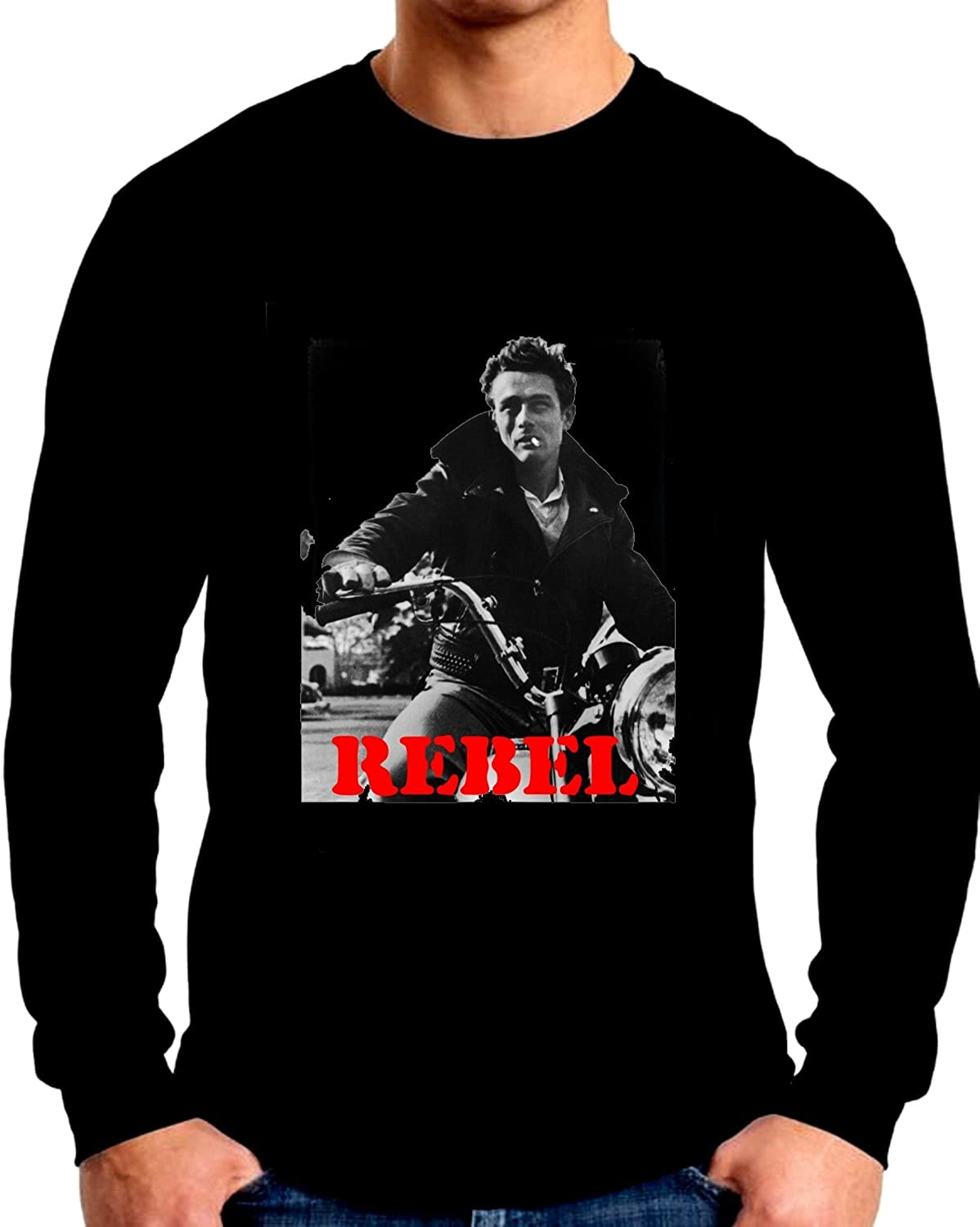 James Dean On His Motorcycle Long Sleeve T Shirt Black