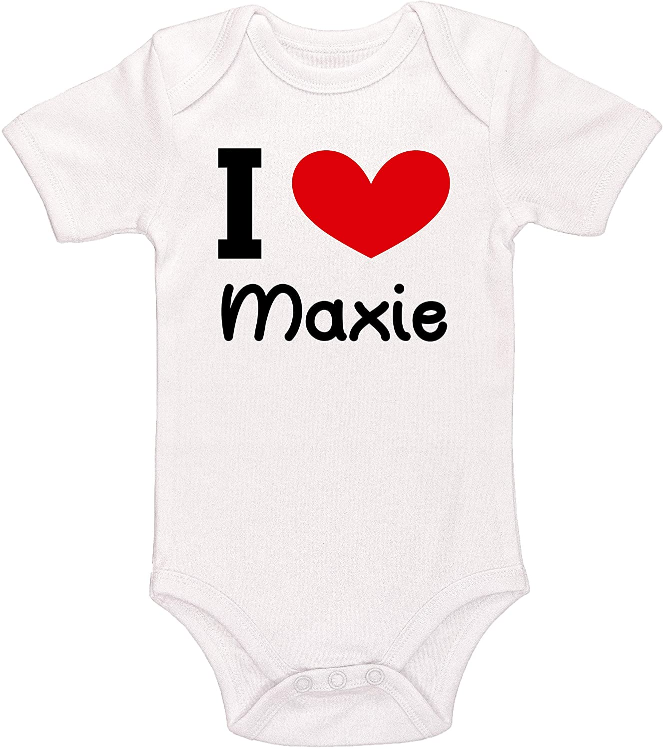 Kinacle I Love Maxie Personalized Baby Bodysuit