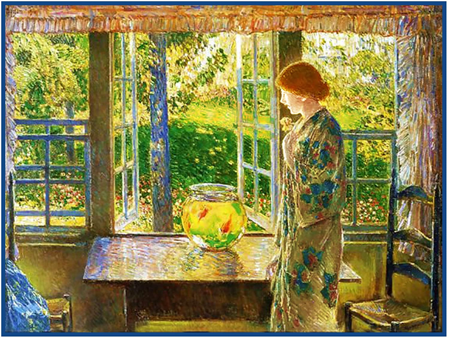 Orenco Originals Woman Looking The Goldfish Window American Impressionist Painter Childe Hassam Counted Cross Stitch Pattern