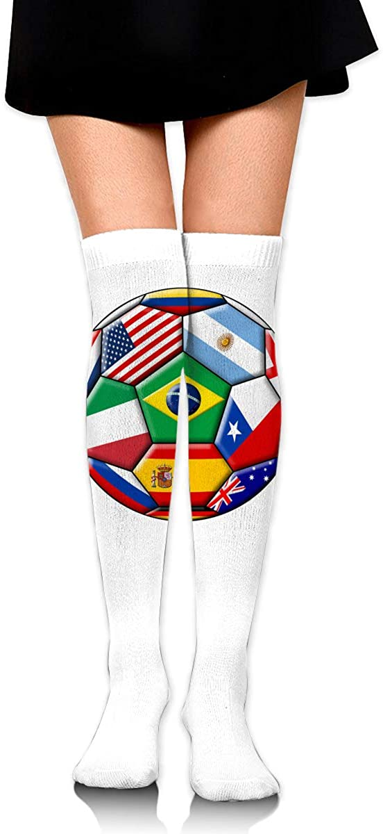 Knee High Socks Soccer With Various Flags Womens Athletic Over Thigh Long Stockings