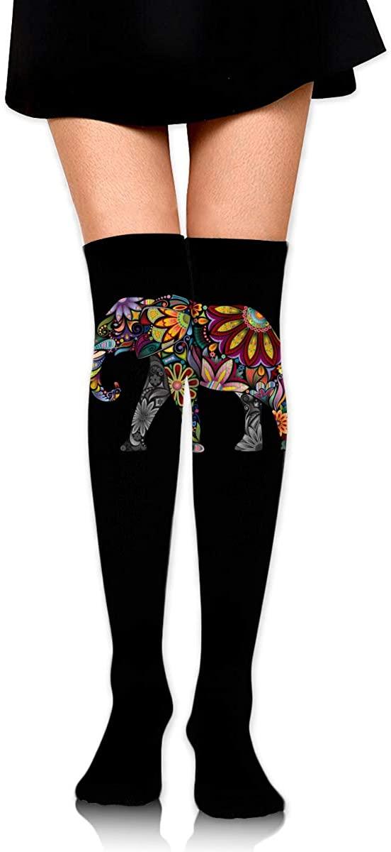 Knee High Socks Flower Pattern Elephant Women's Athletic Over Thigh Long Stockings