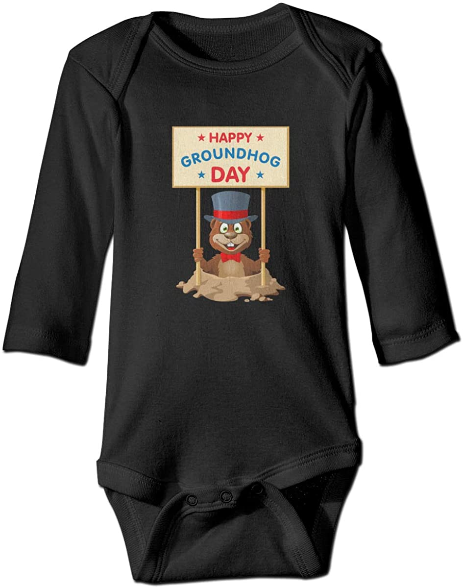YOIGNG Hapy Groundhog Day Unisex Baby Bodysuit Infant Cotton Outfits Long Sleeve Jumpsuit