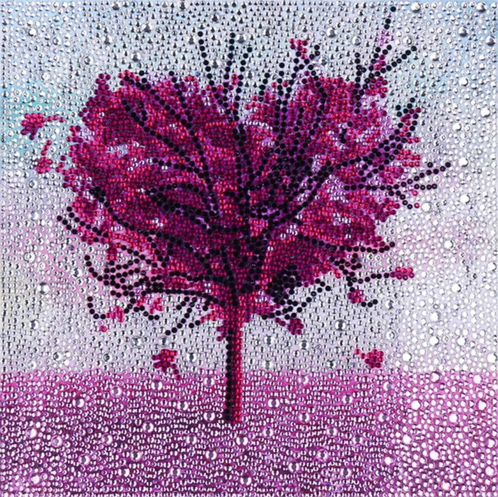ZSNUOK 5D DIY Diamond Painting by Number Kit for Adults or Kids, Full Special Shaped Drill Embroidery Arts Craft Mosaic Making Supplies Paint with Diamonds for Home Wall Decor Love Tree 12x12 inches