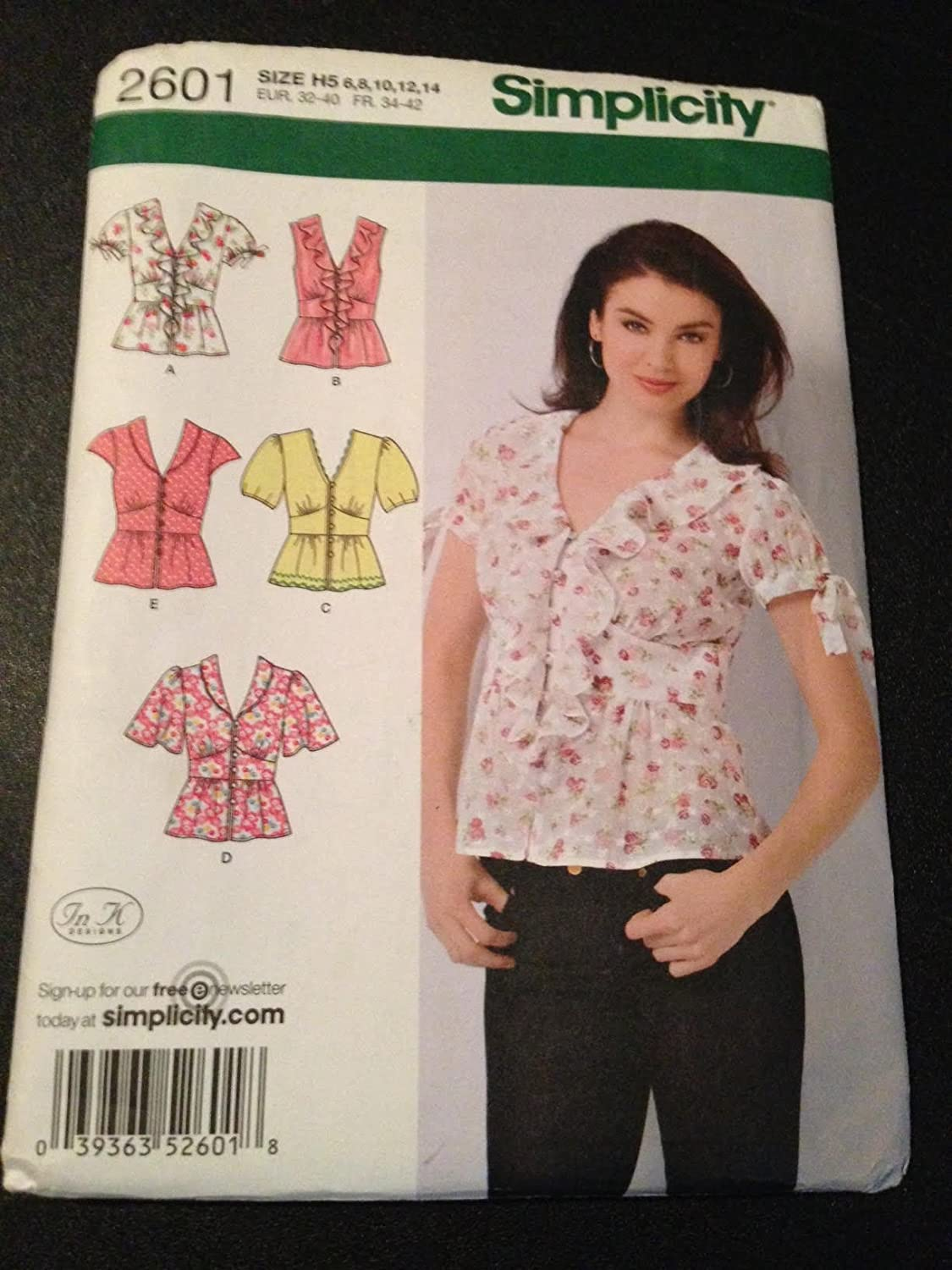 Simplicity 2601 Sewing Pattern, Misses' Blouse with Collar and Sleeve Variation, Size H5 (6,8,10,12,14)