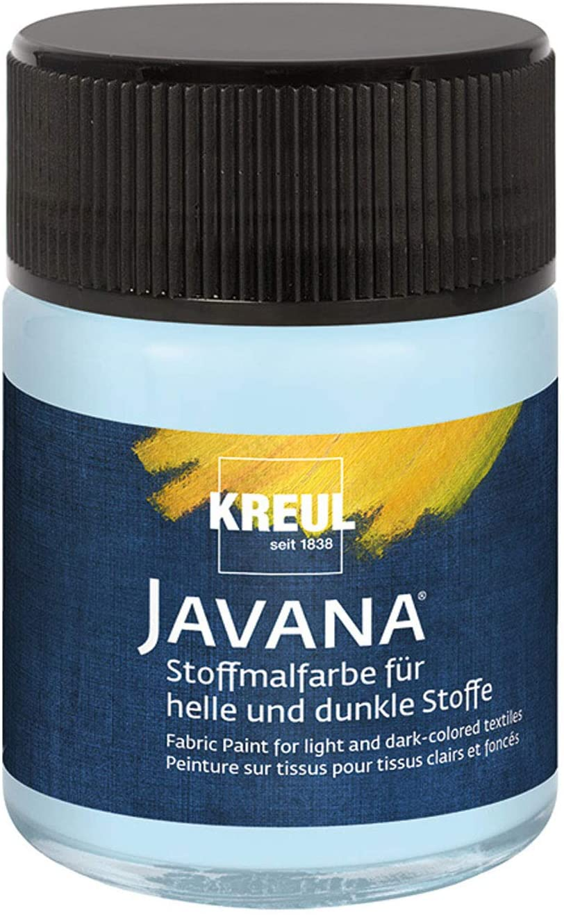 Kreul Javana Fabric Paint for Light and Dark Fabrics Brilliant Water-Based Paint with Pastosse Character 50 ml Glass Ice Blue