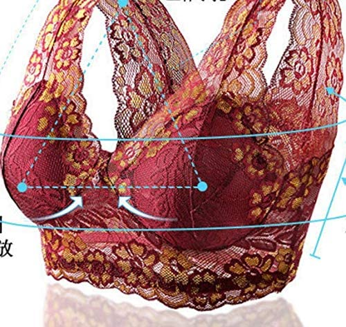 Newest Comfortable Women's Floral Lace Sports Bra Wirefree Lingerie Bralette Yoga Sleep Bra with Removable Pads Redwine (M(70A-75D))