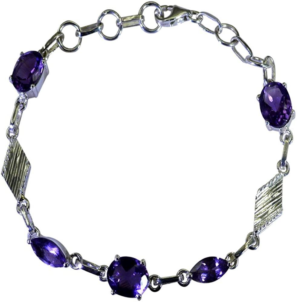 CaratYogi Natural Amethyst Silver Friendship Bracelet for Women Oval Shape Birthstone Toggle L 6.5-8 Inch